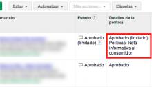 anuncios denegados en Google Adwords
