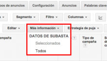 datos de subasta en Google Adwords